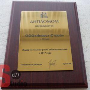 Наградная плакетка с дипломом